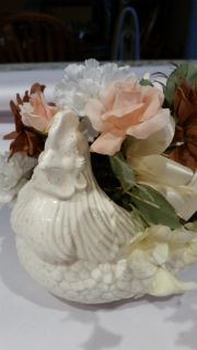 Decorative chicken with flowers