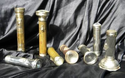 8 Antique Flashlights 1900-1920's