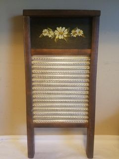 Vintage Washboard with Hand Painted Flowers
