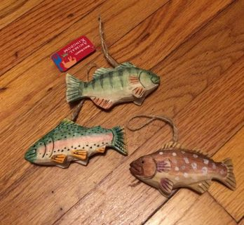 Wood carved fish ornaments