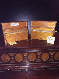 TWO WOODEN MUSIC BOX PIANOS