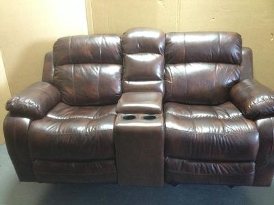 $375, 1690 - Reclining Leather 3-Seat w Drop Down Center Console