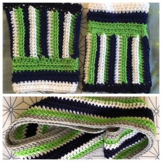 Handmade Seahawks infinity scarf and boot cuffs, worn once. Covington ppu.