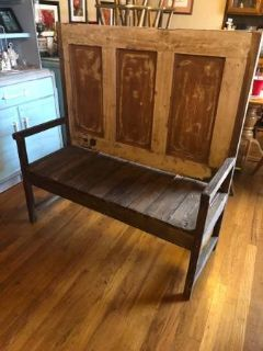 "MAGNIFICIENT rustic solid wood ""high-back"" bench"