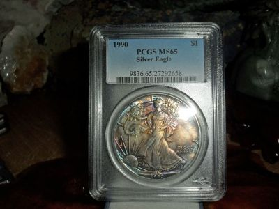 Exceptional and Beautiful 1990-P American Silver Eagle MS 65 PCGS MONSTER Rainbow Tone on Both Sides