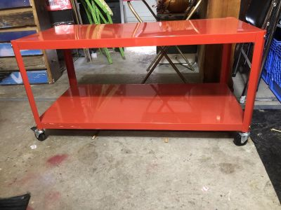 Red metal rolling cart/coffee table