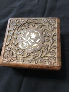 Carved wooden box with ivory