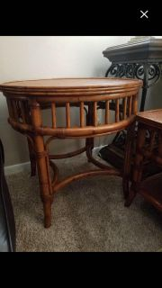 Ethan Allen rustic coffee table and side table
