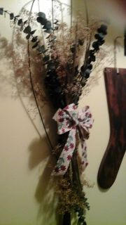 Antique Rug Beater Wreathes with dried eucalyptus