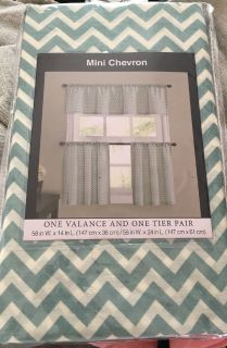 New Chevron Valance Tiers Cafe Kitchen Curtains Set