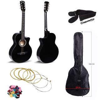 Brand New 38 inches Acoustic Guitar, Cutaway Design. Comes With Guitar Bag, Guitar Strap, Guitar Picks and a set of extra strings.