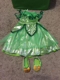 My Disney Girl Tinker Bell Costume and shoes. Used with American Girl doll