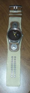 Fossel watch Leather & canvas band NWOT Needs Battery