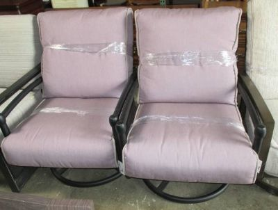 Memorial Day Sale - Pair of Outdoor Mauve Swivel Chairs