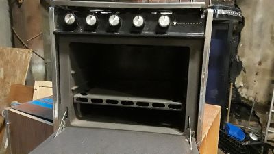 Vintage magic chef stovetop and oven from airstream