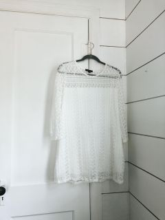 White Long Sleeve Lace Top (L)