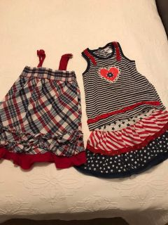 3T cute patriotic dress & skort & top lot