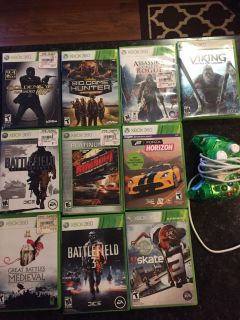 XBOX 360 Games & Plug In Controller