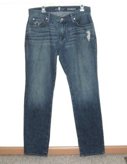 7 For All Mankind Distressed Standard Straight Jeans Men Tag 32 Measures 33 x 33