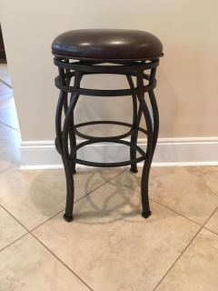 "New 29"" Bar Height Metal and Leather Bar Stool"