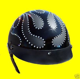 Buy SWAROVSKI RHINESTONE FLAME STUDDED HELMET. DOT APPROVED SHORTY STYLE. motorcycle in Atascadero, California, US, for US $161.95