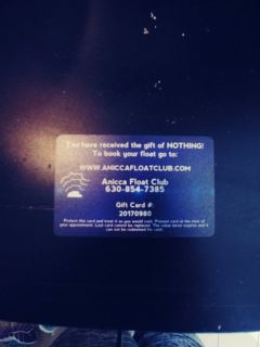 A gift card to float cub