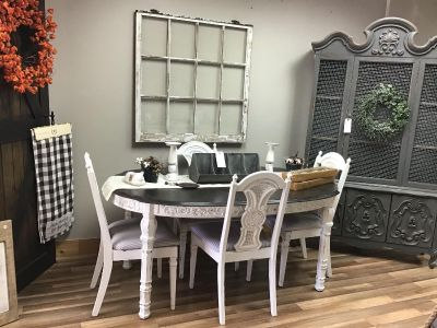 Farmhouse style kitchen table set with 4 matching chairs