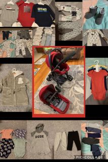 GB LYFE TRAVEL STROLLER & CAR SEAT ALONG WITH CAR SEAT BASE plus all baby clothing $150 for all firm price! Clothing some new with tags!