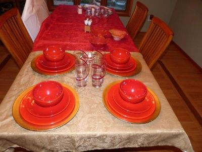 Set of beautiful red dishes