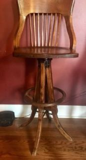 antique maple drafting draftsman chair swivel wood mortise tenion spindle back