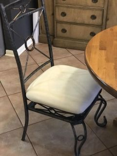 Sturdy metal & fabric dining room chairs (4)