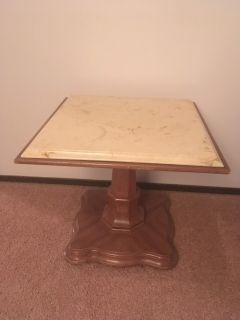 Accent Wood Marble Table