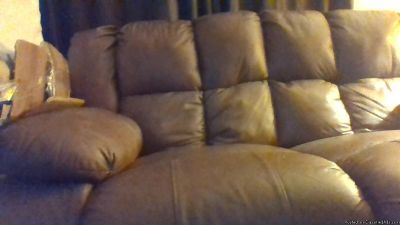 BEAUTIFUL REAL LEATHER COUCH W/LOVESEAT