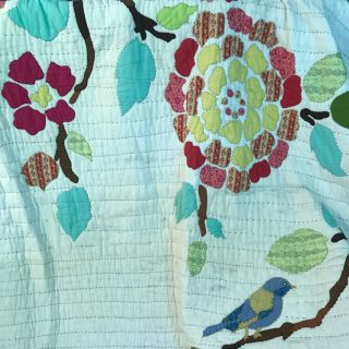 King quilt floral and bird motif