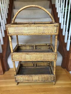 wicker organizer shelf