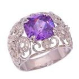 New - Amethyst Scroll Silver Ring - Size 8