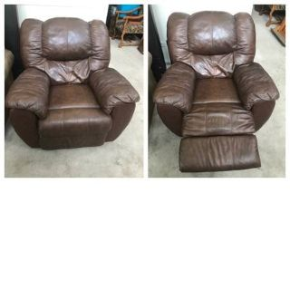 Ashley Furniture Brown Leather Manual Recliner