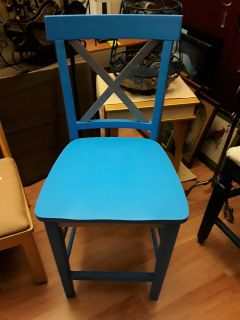 Chair Restored Accent Chair Powder Blue with Silve