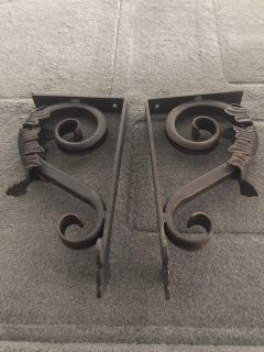 Antique brass shelf brackets