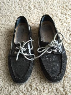 Women's Sperry Topsider Black Sparkle Size 6.5
