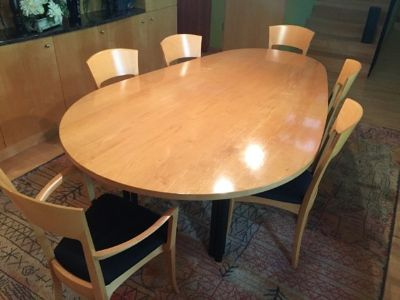 Contemporary Egg Shaped dining table, 8 chairs and sideboard