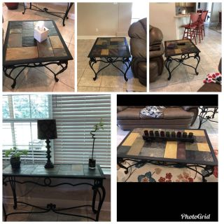 5 pc slate/ iron table set * please note dimensions on these tables* they are large and heavy you will need a truck or trailer to move them.
