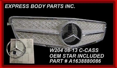 Purchase C63 STYLE W204 2008-2013 C300 C350 C250 GRILL WHITE W/CH STAR 1 FIN MERCEDES NEW motorcycle in North Hollywood, California, US, for US $159.50