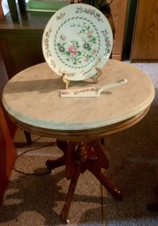 Antique Marble Top and Wooden Table
