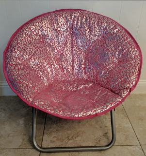 Pink/Silver Microsuede Folding Saucer Chair