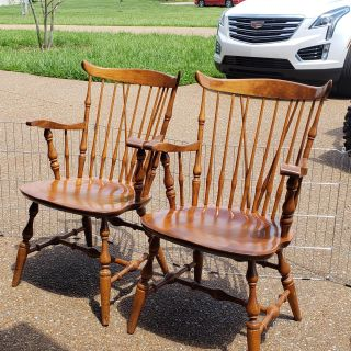 Pair of solid wood Windsor Arm Chairs 75.00 door the pair