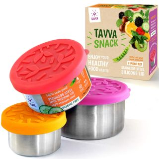 Set of 3 TAVVA Stainless Steel Food Containers - Plastic Free, Leakproof with Silicone Lids