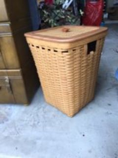Longaberger Tall Laundry Hamper w/Lid and Protector