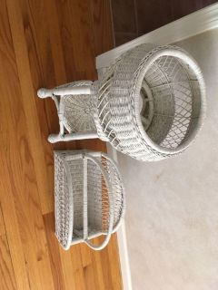 Wicker plant stand and magazine rack