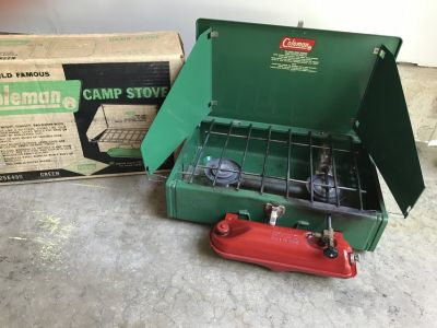 Vintage Coleman 425E camp stove with original box